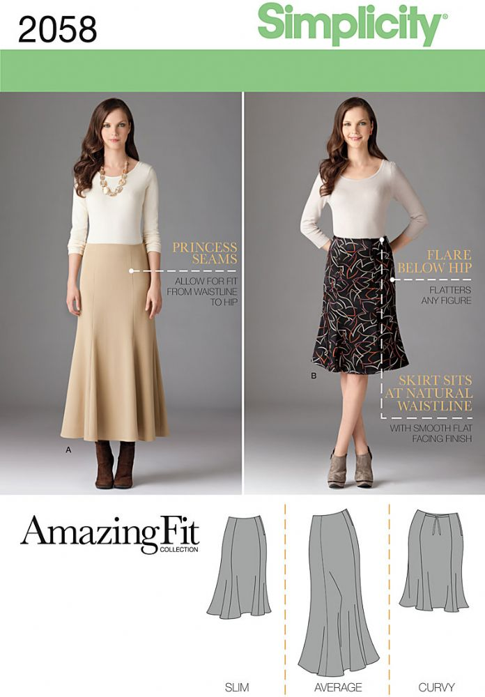 2058 Simplicity Pattern Misses and Plus Size Amazing Fit Skirt